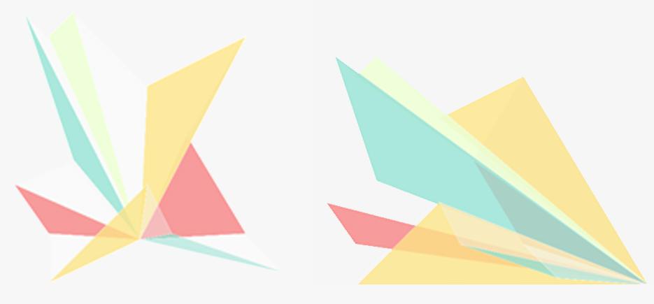 Geometriske former i ulike farger.