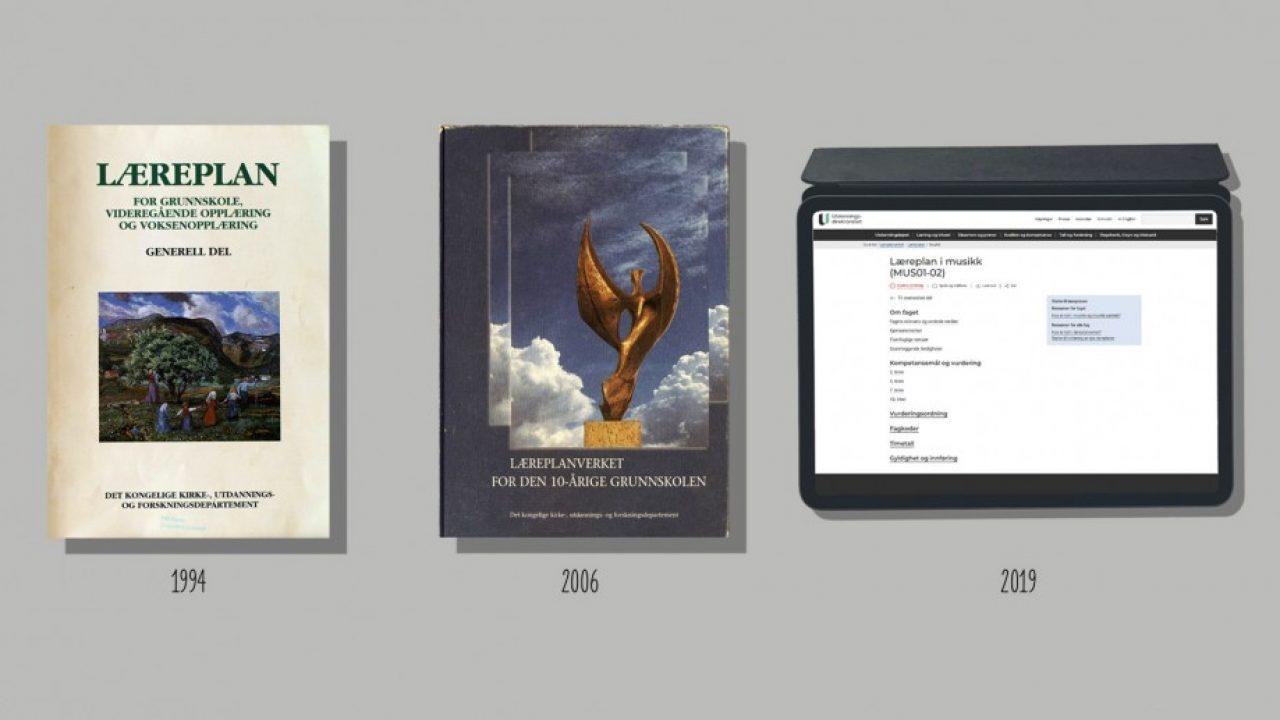 Bilde av læreplanene fra 1994, 2006 og en ipad som viser musikkplanen på Udir sin nettside.