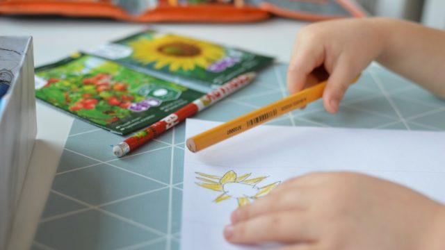 Barn tegner gul blomst.