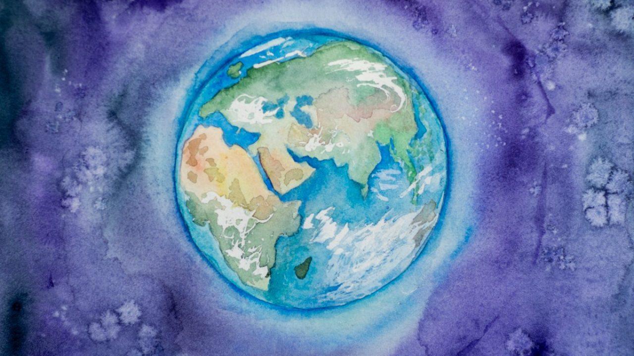 Maleri av en jordklode