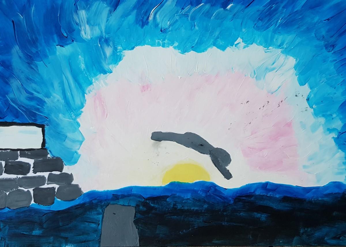 Elevarbeid. Maleri av person som stuper ut i vannet.