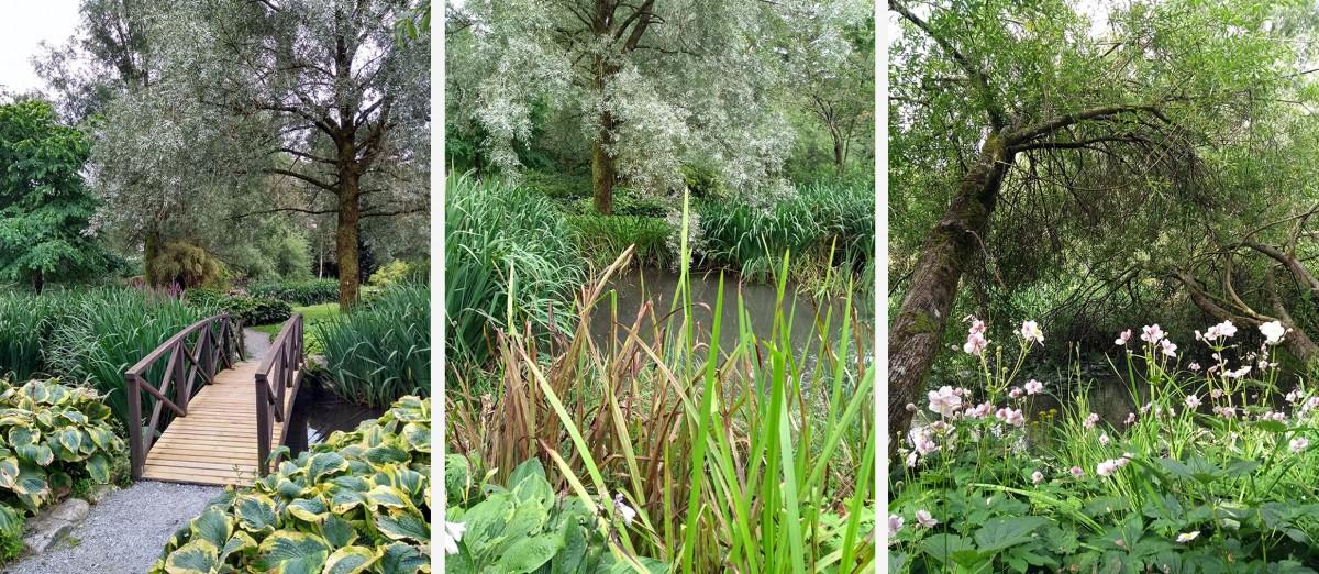 Tre foto av den japanske hagen i Sandsveparken.