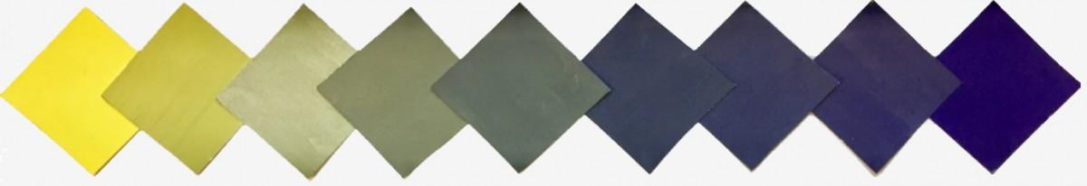 Elevarbeid: Komplementærkontrast mellom gul og lilla.