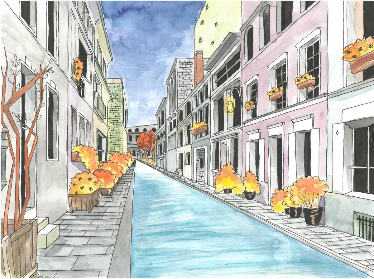 Akvarellmaleri av gatemiljø, elevarbeid.