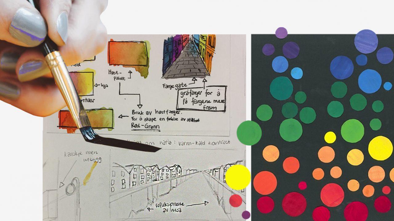 Hånd som holder pensel, skisser, fargesirkler.