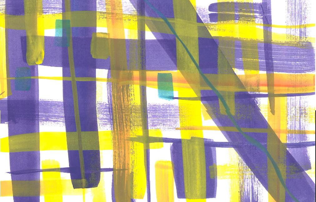 Nonfigurativ maleøvelse med loddrette og vannrette strøk.