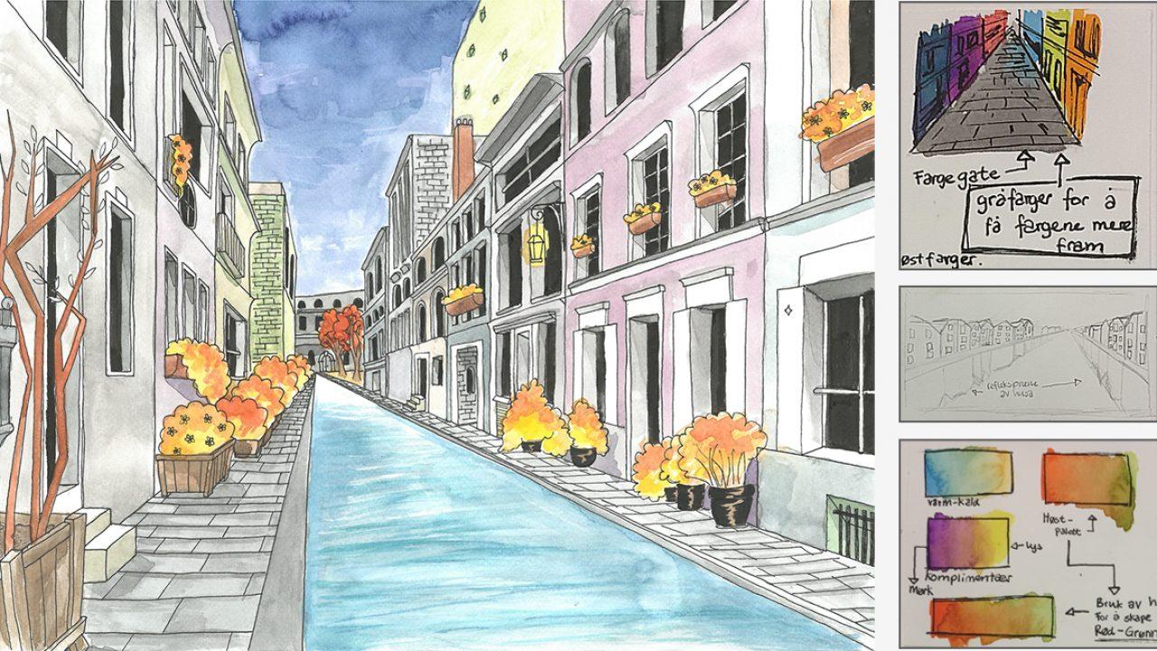 Akvarell av bymiljø, samt tre små skisser.