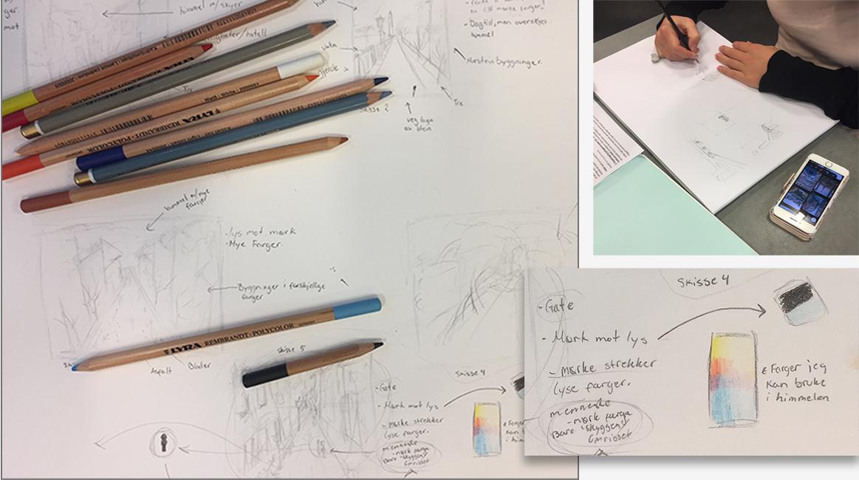 Skisepapir, fargeblyanter og hender som skisser.