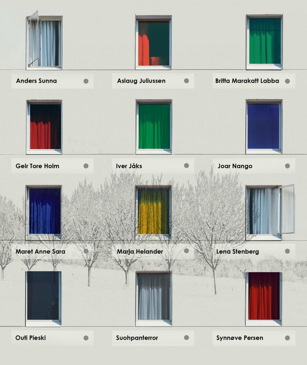 Murvegg med 12 vindusflater. Fotomanipulasjon.