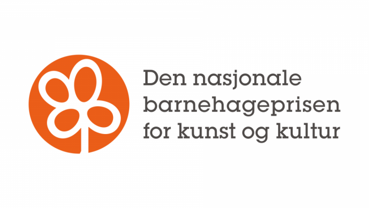 Logoen til barnehageprisen. Oransje blomst.