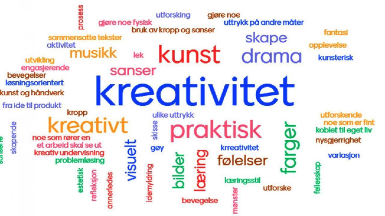 Ordsky som viser assosiasjoner til estetiske læringsprosesser.