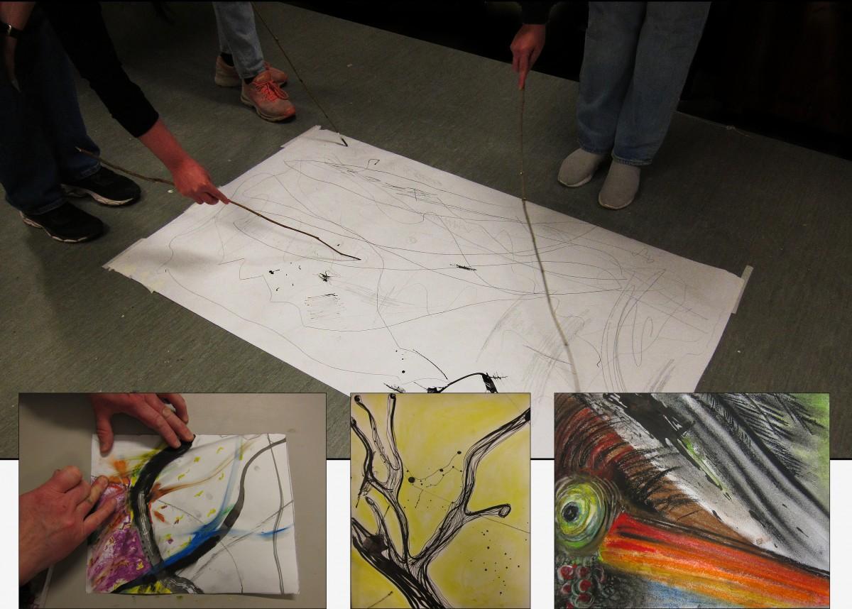Samskaping med blekk på papir og individuell ideutvikling og bearbeidelse.